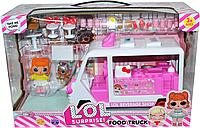 5622 Помятая коробка!!! Фургон закусочная ЛОЛ Халоу китти LOL FOOD TRUCK с куклами 35*23 (реплика,аналог)