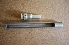 Оправа защитная ОТП металлическая прямая для технич.термометров, верх.часть 215мм, нижняя 63 мм