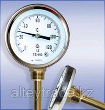 Термометр биметаллический ТБ-63-100 (0...+200) для а/бетона с защитной гильзой и осевым штуцером