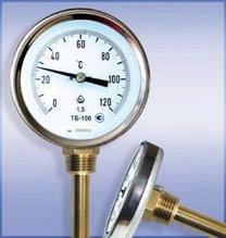Термометр биметаллический ТБ-63-160 (0...+200) для а/бетона с защитной гильзой и осевым штуцером