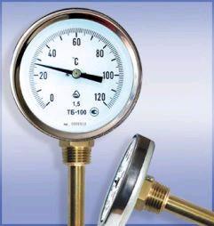 Термометр биметаллический ТБ-63-50 (0...+200) для а/бетона с защитной гильзой и осевым штуцером