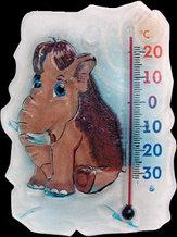 """Термометр бытовой для холодильника """"Мамонтенок"""" ТБ-3М-1 исп.26 (-30+20), ц.д.1, основание-композит, присоска, 118х88мм"""
