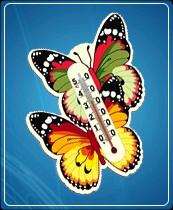"""Термометр бытовой сувенирный """"Бабочка"""" (0...+50) ц.д.1, основание-картон, крепление-липучка"""