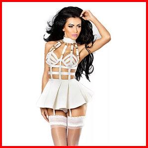 Оригинальное сексуальное платье, размер 42 - 44 (S - М), цвет белый