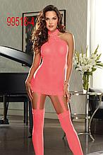 Сексуаьльный прозрачный розовый пеньюар с подтяжками