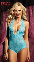 Голубое кружевное женское сексуальное боди