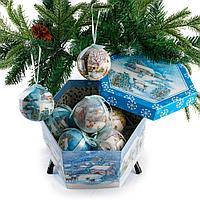 """Новогодние шары в подарочной коробке """"Зимний пейзаж"""""""