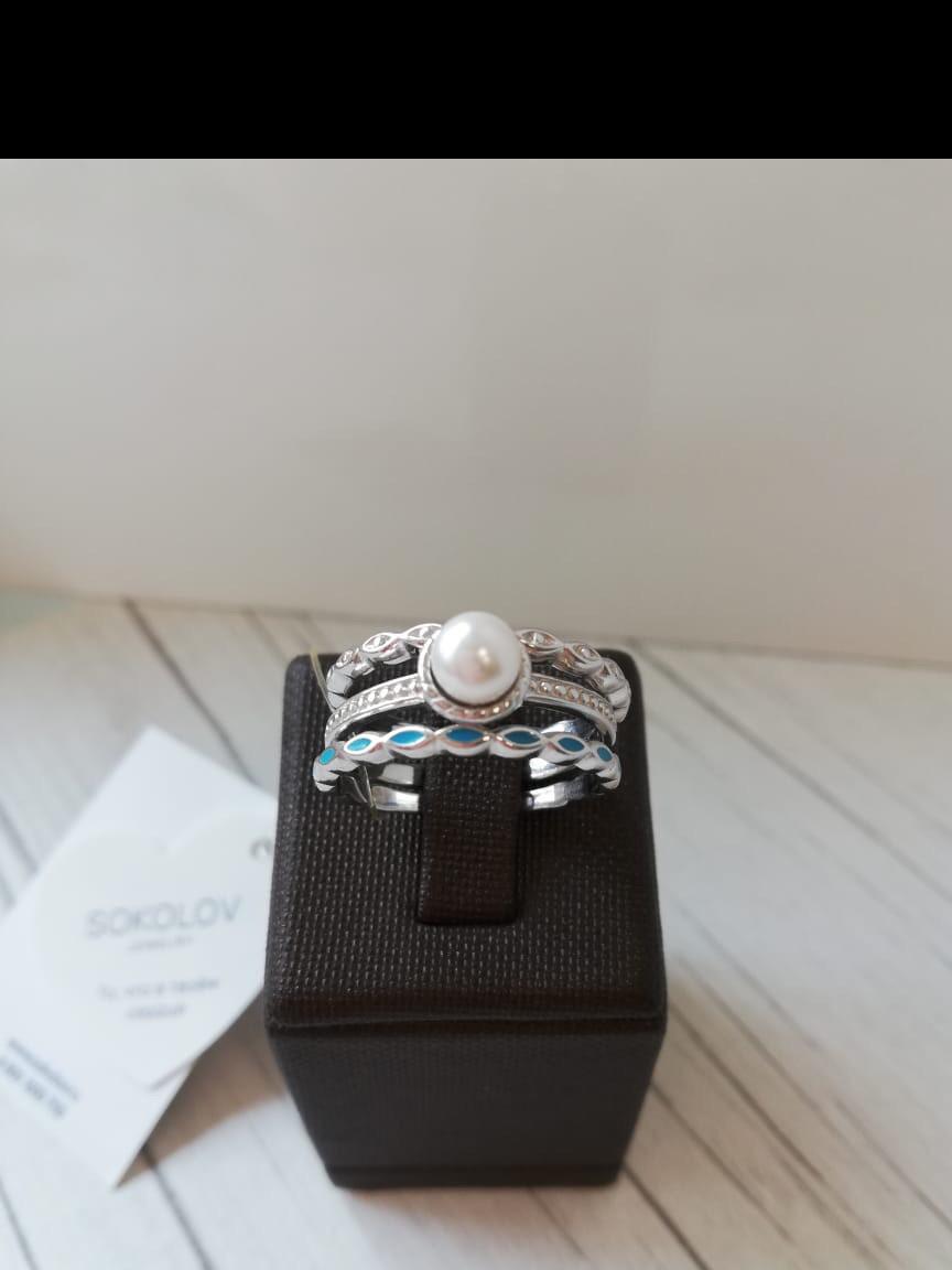 Кольца неделька, серебро, жемчуг. Размер 18