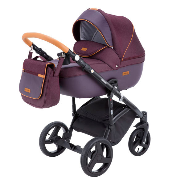 Детская коляска Adamex 3 в 1 Massimo каучуковые колеса v6