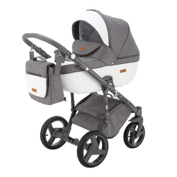 Детская коляска Adamex 3 в 1 Massimo каучуковые колеса v7