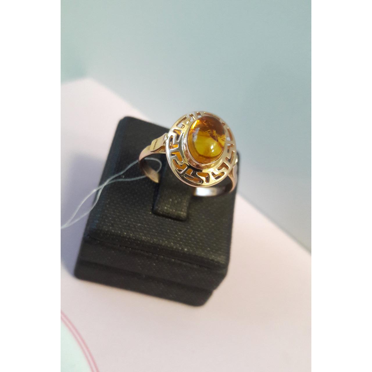 Кольцо золотое с янтарем / размер 17,5