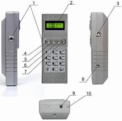 """Элементы управления и узлы анализатора алкоголя """"АКПЭ-01М"""": 1 — гнездо для  мундштука; 2 — индикатор; 3 — разъем для подключения  принтера или ПК, индикатор зарядки; 4 — кнопка """"Старт""""; 5 — кнопка """"Режим""""; 6 — кнопка """"Печать""""; 7 — кнопка питания; 8 — гнездо для воронки  или фильтра; 9 — разъем для блока питания или адаптера прикуривателя; 10 — индикатор зарядки"""