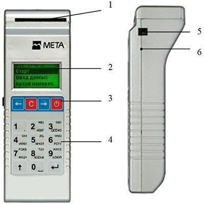 Прибор обладает продуманным расположением разъемов и органов управления: 1-принтер, 2-дисплей, 3-клавиша включения, 4-клавиатура, 5-гнездо питания, 6-светодиод заряда