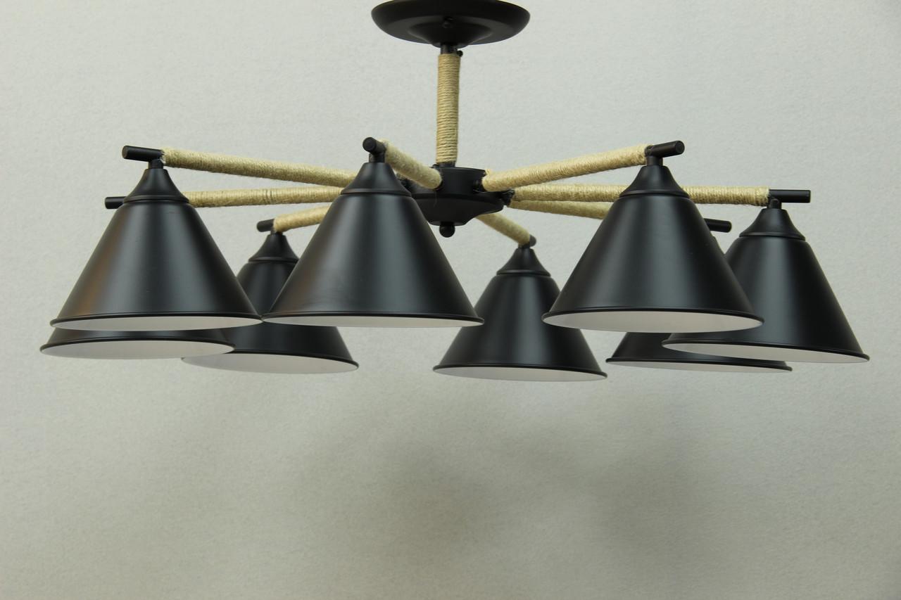 LOFT люстра черная на 8 плафонов