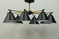 LOFT люстра черная на 8 плафонов , фото 1