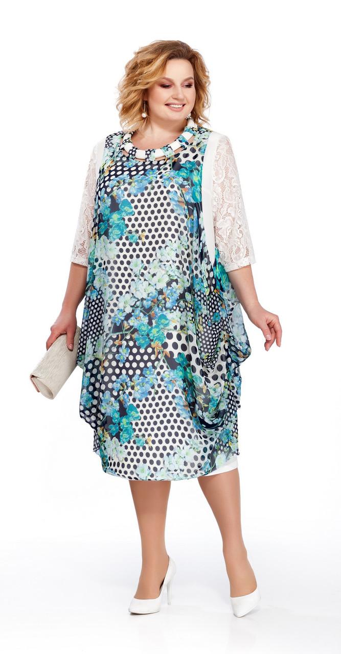 Платье Pretty-435/1, бирюзовый, 56