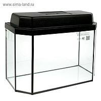Аквариум панорамный с крышкой, 40 литров, 51 х 23 х 34/39,5 см, чёрный