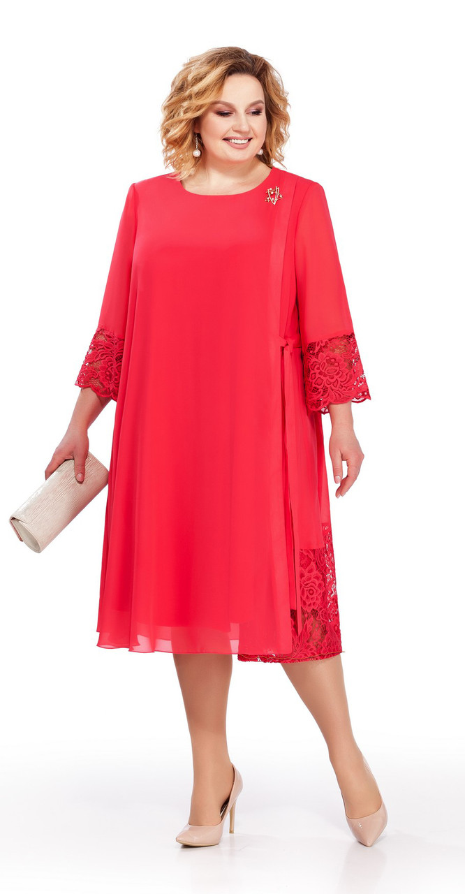 Платье Pretty-837/1, коралл, 56