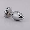 Серебряная анальная пробочка с алмазом-сердечком. 95*40 мм., фото 3