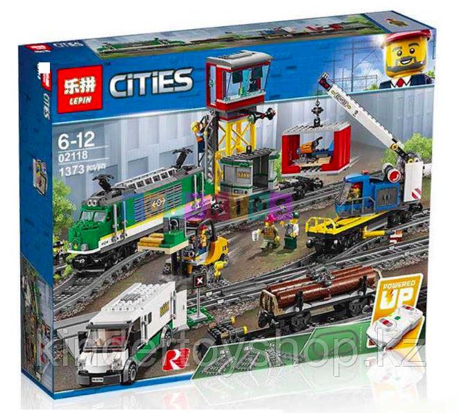 Конструктор Lego City Trains Товарный поезд Lepin 02118 KING 82088 аналог Лего 60198