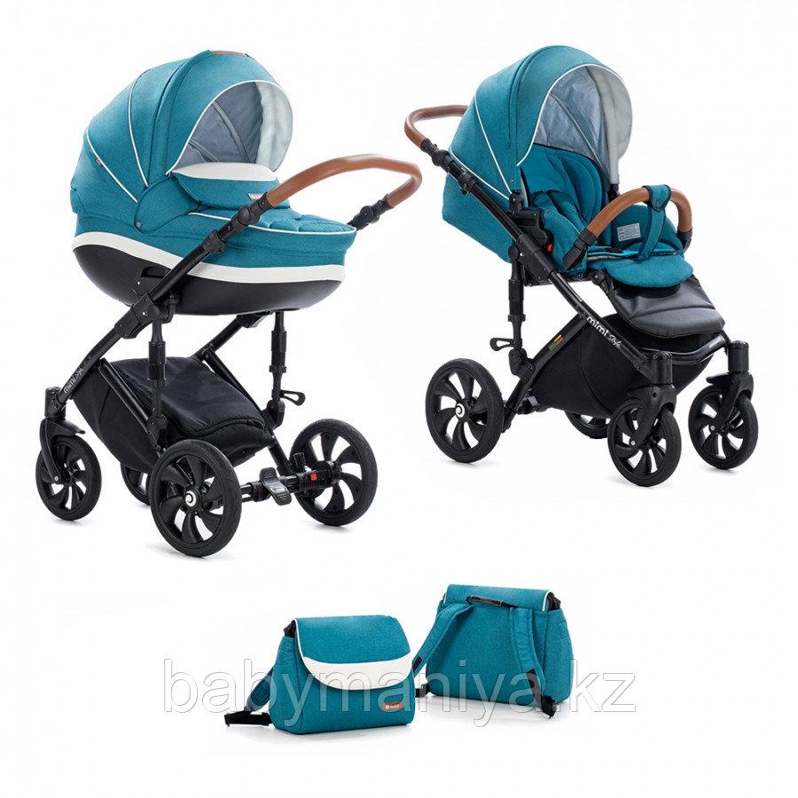 Детская коляска Tutis Mimi Style 2 в 1 Цвет морской волны + Кожа белая
