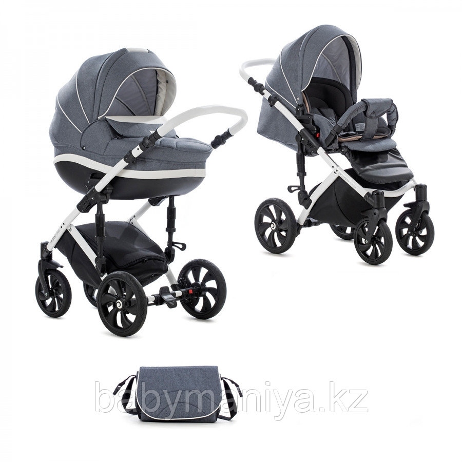 Детская коляска Tutis Mimi Style 2 в 1 Серый Лен + кожа Белая рама