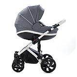 Детская коляска Tutis Mimi Style 2 в 1 Серый Лен + кожа Белая рама, фото 3