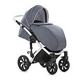 Детская коляска Tutis Mimi Style 2 в 1 Серый Лен + кожа Белая рама, фото 6