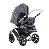 Детская коляска Tutis Mimi Style 2 в 1 Серый Лен + кожа Белая рама, фото 7