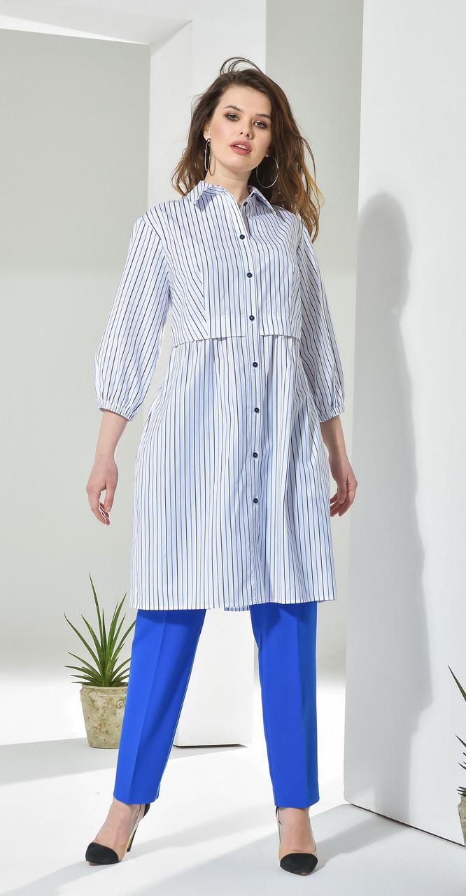 Платье Anna Majewska-221, голубой-полоска, 48