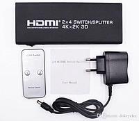 Сплиттер(разветвитель) HDMI 2 входа - 4 выхода. splitter, switch  4Kx2K, фото 1