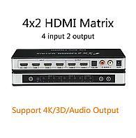 HDMI Switch/Splitter Matrix ,матричный коммутатор 4x2