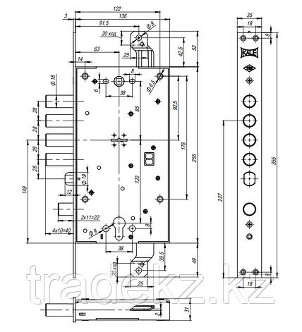 Замок врезной Kale Kilit 456 L, сувальдный, с цилиндром, 5 ключей, фото 2