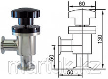 Клапан вакуумный угловой ручной с фланцами KF25 (NW25), витоновое уплотнение корпуса, нержавеющая сталь 304L