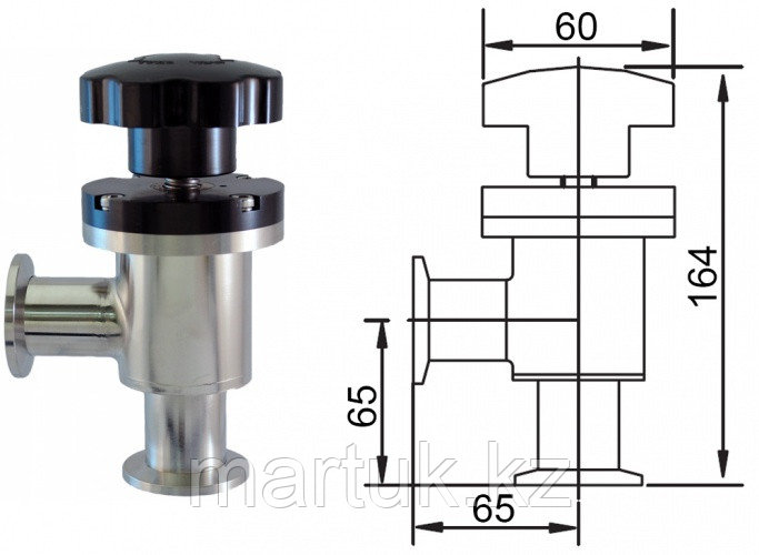 Клапан вакуумный угловой ручной с фланцами KF40 (NW40), витоновое уплотнение корпуса, нержавеющая сталь 304L