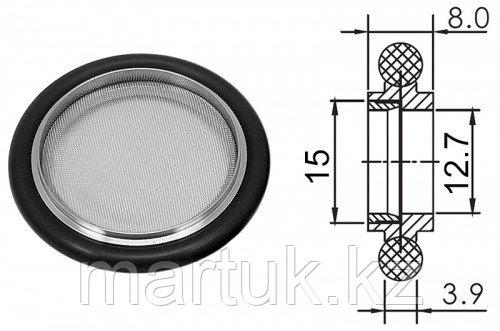 Кольцо центрирующее KF16 (NW16) с витоновым уплотнением и экраном, нержавеющая сталь 304L