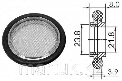 Кольцо центрирующее KF25 (NW25) с витоновым уплотнением и экраном, нержавеющая сталь 304