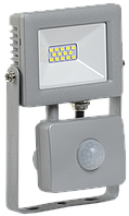 Прожектор светодиодный СДО 07-10Д с датчиком движения IP44 серый IEK, фото 1