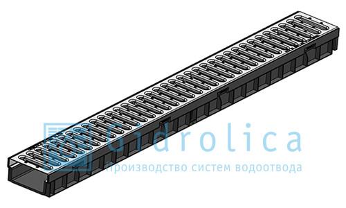 Лоток водоотводный с решеткой стальной 100х11,5х9,5см