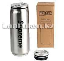 Термос Supreme с трубочкой (серебристый) 500ml