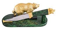 """Авторский нож """"Медведь"""" (сталь нержавеющая """"ЭИ-107"""", змеевик) - Купить в Казахстане"""