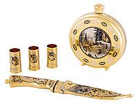"""Набор охотничий """"Волчья стая"""" (фляга большая, нож ЦМ, 3 стопки) - Купить в Казахстане"""