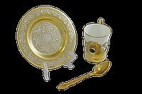 Набор кофейный с малахитом (тарель, чашка, ложка) - Купить в Казахстане