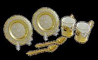 Набор кофейный с малахитом ( 2 тарели, 2 чашки, 2 ложки) - Купить в Казахстане