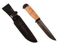 """Нож туристический """"Лиса"""" (сталь дамасская, береста) - Купить в Казахстане"""