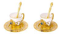 """Набор кофейный """"Лазурит"""" (2 тарели, 2 чашки, 2 ложки) - Купить в Казахстане"""
