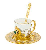 """Набор кофейный """"Малахит"""" (тарель d 110, чашка, ложка) - Купить в Казахстане"""