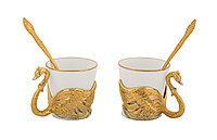 """Набор кофейный """"Лебеди"""" ( 2 чашечки, 2 ложечки ) - Купить в Казахстане"""