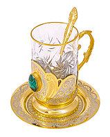 """Набор чайный """"Малахит"""" (тарель, подстаканник, ложка) - Купить в Казахстане"""