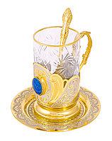 """Набор чайный """"Лазурит"""" (тарель, подстаканник, ложка) - Купить в Казахстане"""
